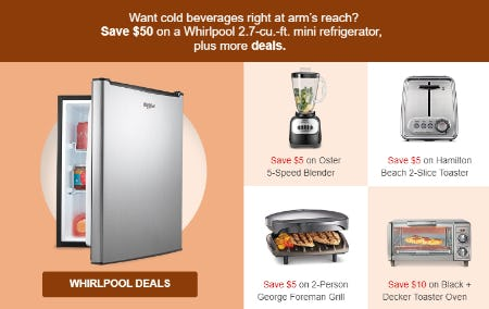 Save $50 on a Whirlpool 2.7-cu.-ft. Mini Refrigerator, & More Deals from Target
