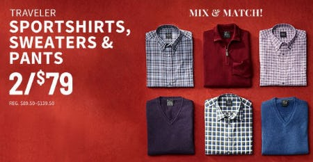 Traveler Sportshirts, Sweaters & Pants 2 for $79 from Jos. A. Bank