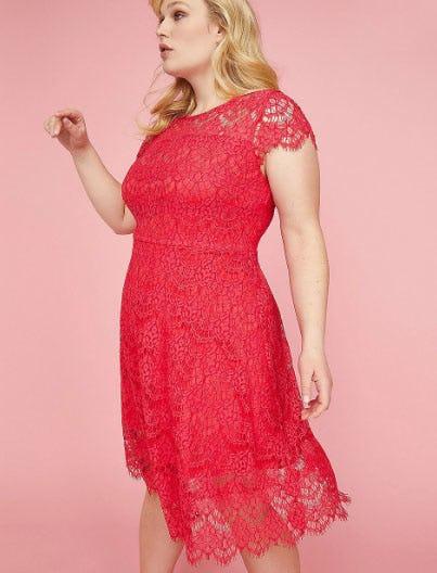 Back Cutout Lace Fit & Flare Dress