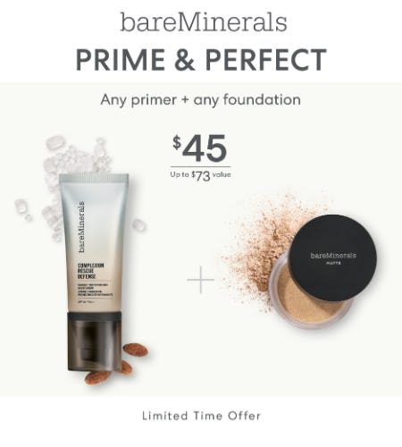 Choose Your Shade of Foundation + Choice of Primer for $45 from bareMinerals