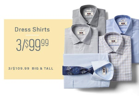 3 for $99.99 Dress Shirts from Men's Wearhouse