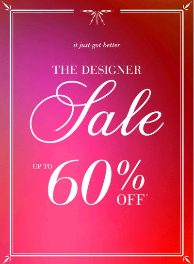 Up to 60% Off The Designer Sale from Saks Fifth Avenue