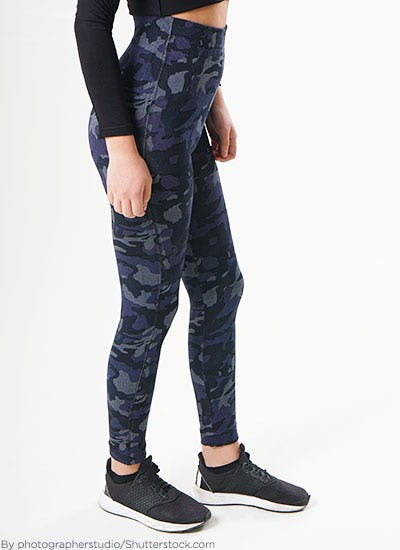 Woman wearing camo leggings.