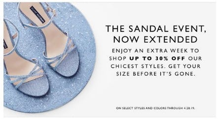 Extended: Up to 30% Off Select Sandals from STUART WEITZMAN