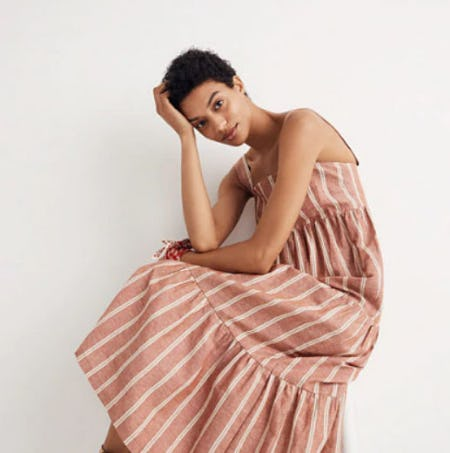 Seamed Midi Dress in Stripe from Madewell