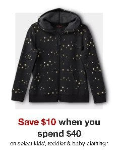 Save $10 When You Spend $40 on Select Kids', Toddler and Baby Clothing from Target