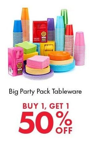 BOGO 50% Off Big Party Pack Tableware from Party City