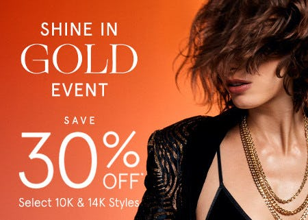 Save 30% Off Select 10K & 14K Styles from Zales