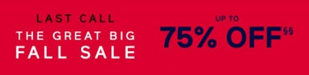 The Great Big Fall Sale up to 75% Off