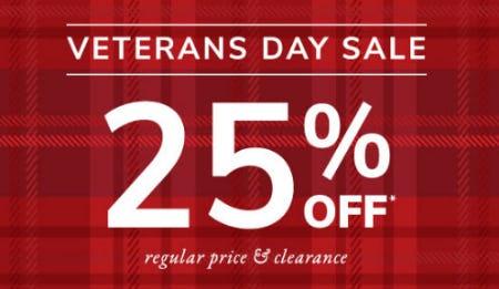 25% Off Veterans Day Sale