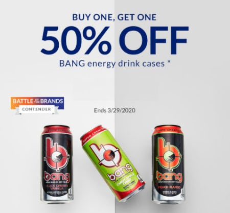 BOGO 50% Off Bang Energy Drink Cases
