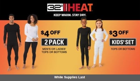 $4 Off 32 Degrees 2 Pack Men's or Ladies' Tops or Bottoms from Costco