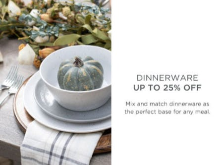 Dinnerware Up to 25% Off from Kirkland's