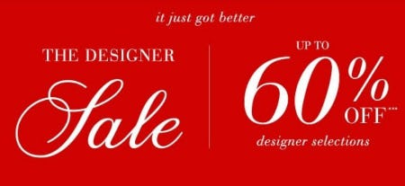 Up to 60% Off The Designer Sale