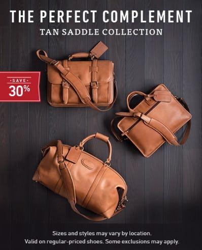 Save 30% on Tan Saddle Collection