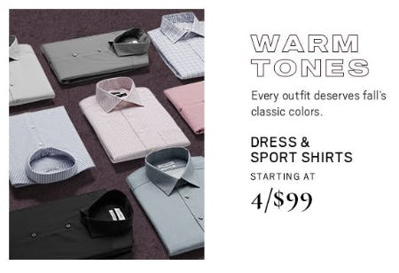Dress & Sport Shirts Starting at $4.99 from Men's Wearhouse