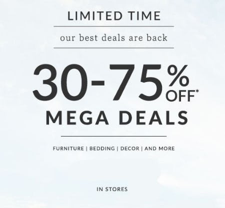 30-75% Off Mega Deals from Pottery Barn