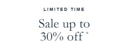 Sale Up to 30% Off