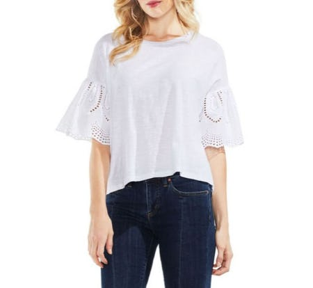 Vince Camuto Eyelet Cotton Blouse from Lord & Taylor