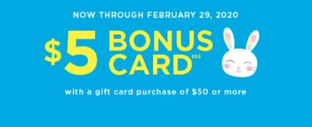 $5 Bonus Card from The Children's Place & Gymboree