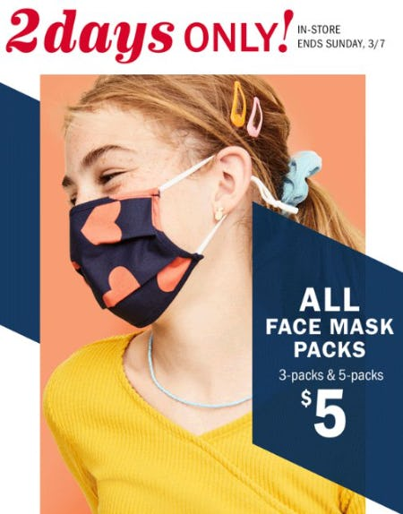 $5 All Adult & Kids 3-pack & 5-pack Face Masks from Old Navy