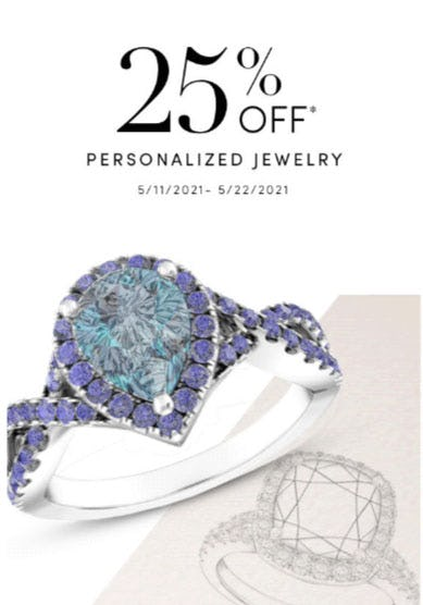 25% Off Personalized Jewelry from Jared Galleria of Jewelry