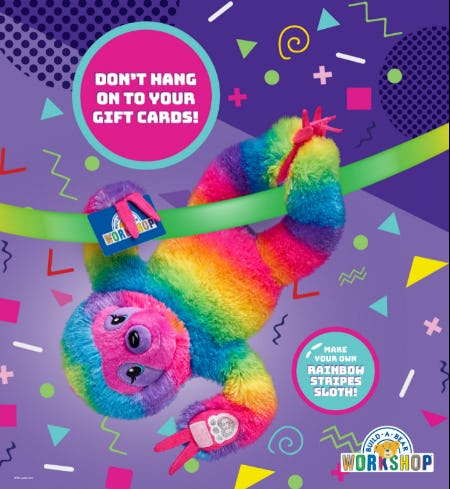 Hang Out with Your Own Rainbow Stripes Sloth! from Build-A-Bear Workshop
