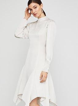 Mock Neck Asymmetrical Dress from BCBG