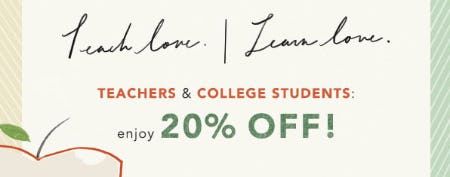Teachers & College Students: Enjoy 20% Off