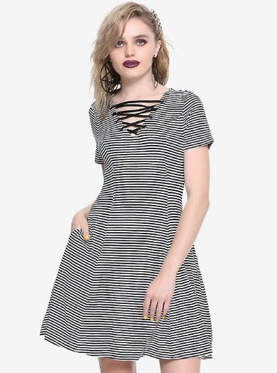 Black & White Striped Lace-Up Neck Dress from Hot Topic