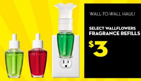 Select Wallflowers Fragrance Refills $3 from Bath & Body Works