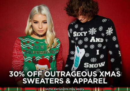 30% Off Outrageous Xmas Sweaters & Apparel from Spencer's Gifts