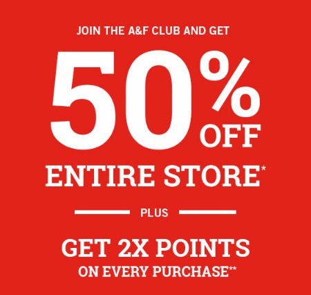 50% Off Entire Store