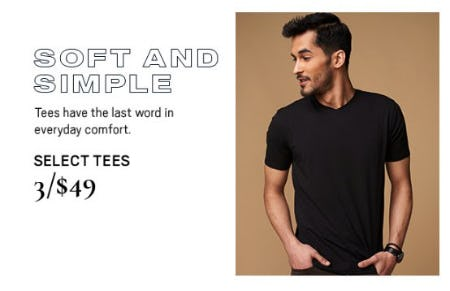 Select Tees 3 for $49 from Men's Wearhouse and Tux