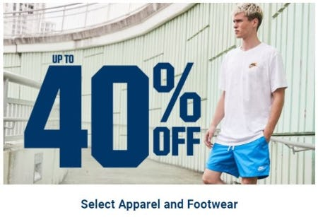 Up to 40% Off Select Apparel and Footwear
