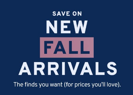 Save on New Fall Arrivals from Marshalls