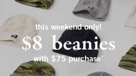 $8 Beanies with $75 Purchase from Abercrombie Kids