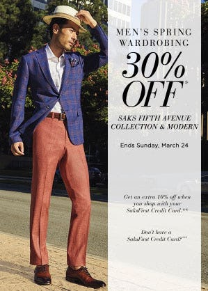 30% Off Saks Fifth Avenue Collection & Modern