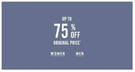 Up to 75% Off Original Price