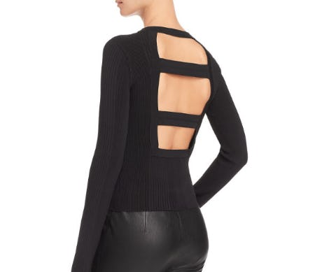 T by Alexander Wang Ribbed Cutout Sweater