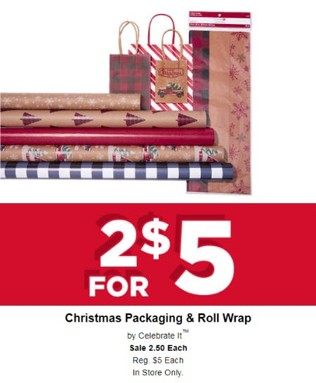 Christmas Packaging & Roll Wrap at 2 for $5 from Michaels