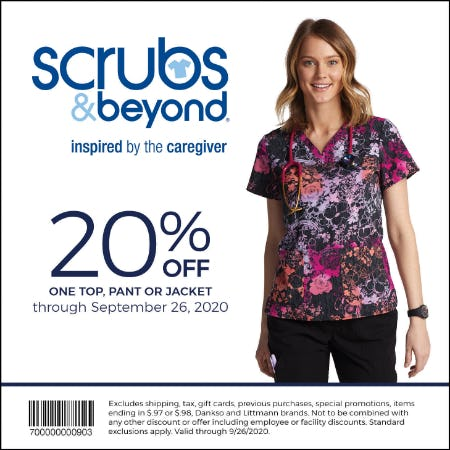 Fall 20 Coupon: 20% off one top, pant or jacket from Scrubs & Beyond