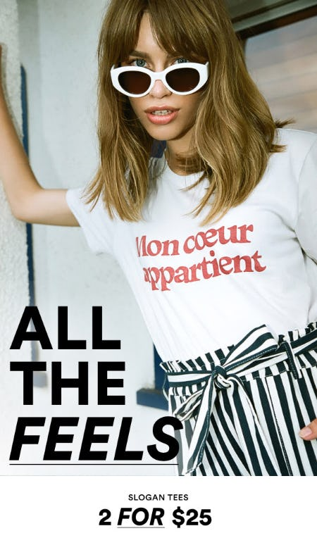 Slogan Tees 2 for $25 from Cotton On