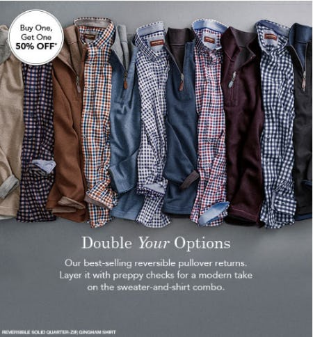 BOGO 50% Off Shirts & Sweaters