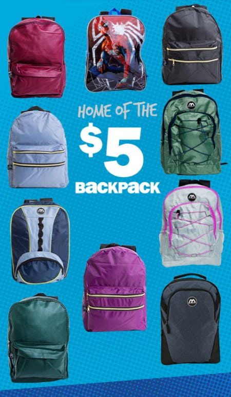 $5 Backpacks from Five Below