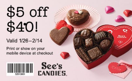 Visit See's Candies for $5 off $40* from See's Candies