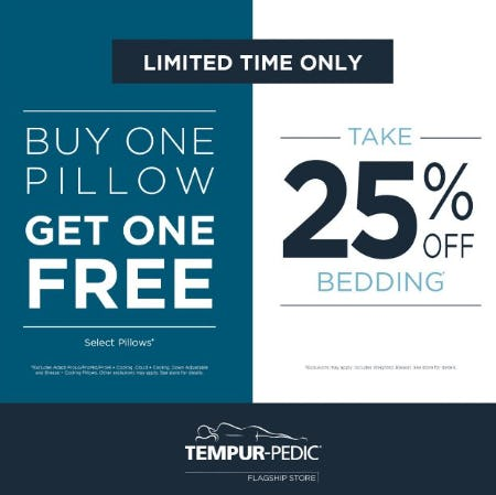 Buy One Pillow, Get One Free & Take 25% Off Bedding from Tempur-Pedic