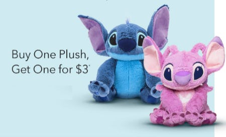 Buy One Plush, Get one for $3 from Disney Store