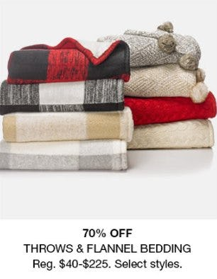 70% Off Throws & Flannel Bedding from macy's