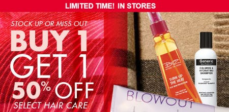 B1G1 50% Off Select Hair Care